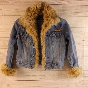 One Tuff Babe Small Denim Jean Jacket Faux Fur S